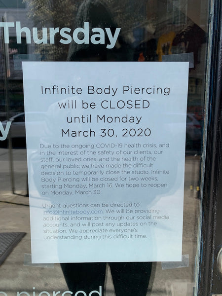 Infinite Body Piercing: COVID-19 closure announcement