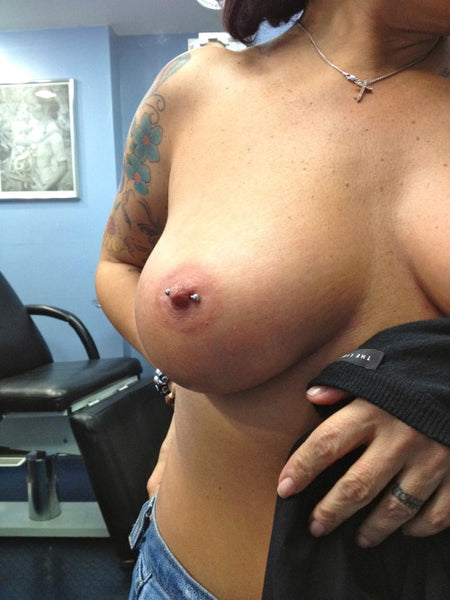 Nipple piercing done at Infinite Body Piercing