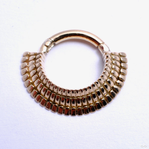 Triple-Ridge Collar Clicker in Gold from Sacred Symbols in yellow gold