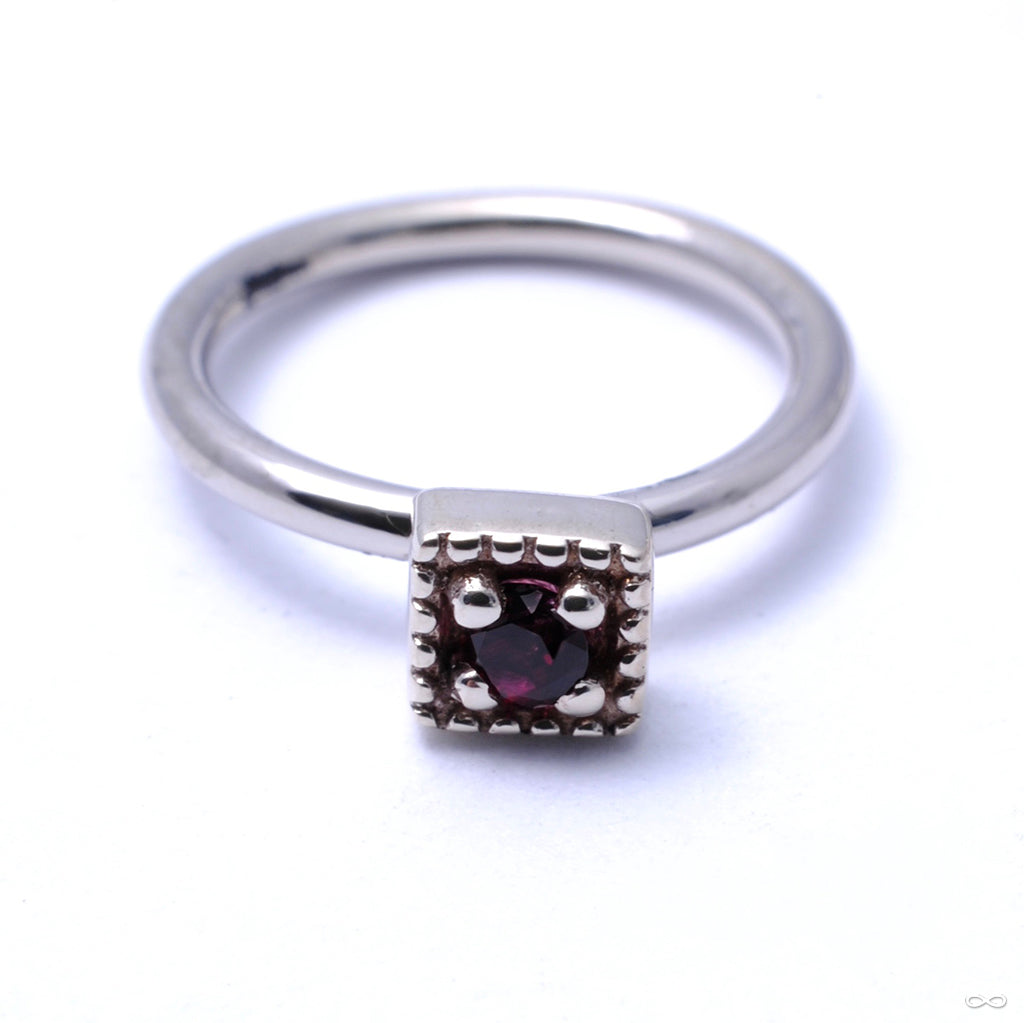 Millgrain Square Fixed Bead Ring in Gold from Scylla with Red Topaz