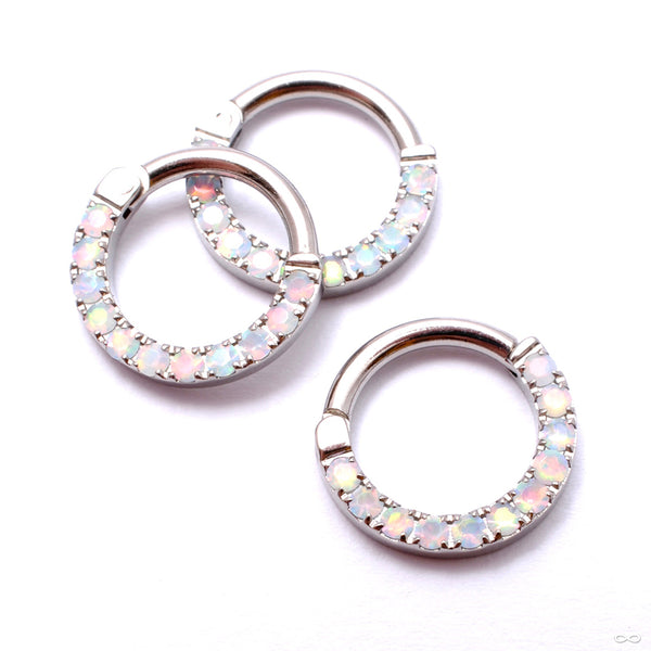 Eternity Clicker in Titanium from Venus by Maria Tash with White Opals