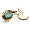 Aura Hoops in Brass with Labradorite from Buddha Jewelry