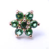 7 Stone Flower Press-fit End in Gold from LeRoi in Green
