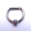 Hinged Ring with Bezel-set Gemstone in Titanium from Intrinsic with Amethyst