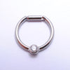 Hinged Ring with Bezel-set Gemstone in Titanium from Intrinsic with Clear CZ