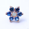 7 Stone Flower Press-fit End in Gold from LeRoi in White Opal & Sapphire