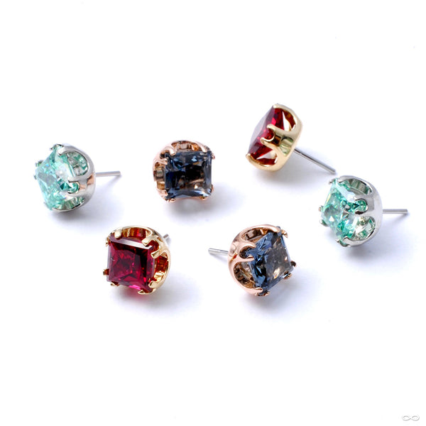 Princess-cut Gem Press-fit End in Gold from Anatometal in assorted colors