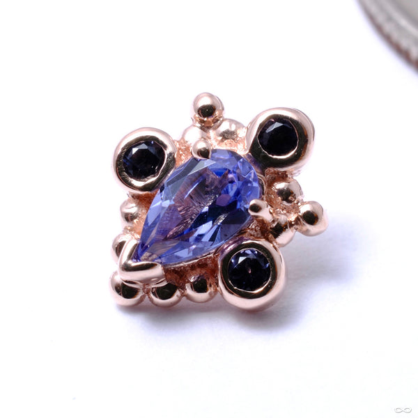 Pear Helana Threaded End in Gold from BVLA with Tanzanite & Iolite