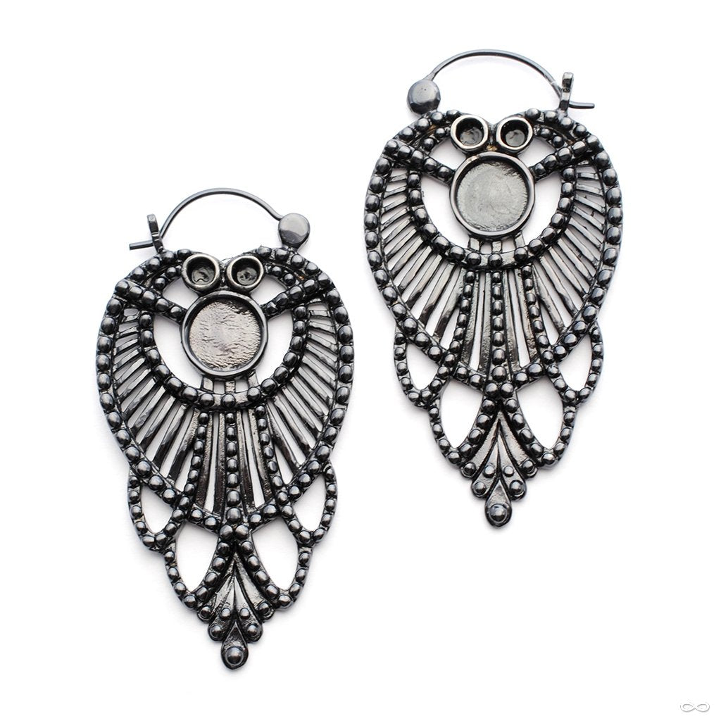 Chandelier Earrings from Tawapa in Black-ceramic-plated Brass