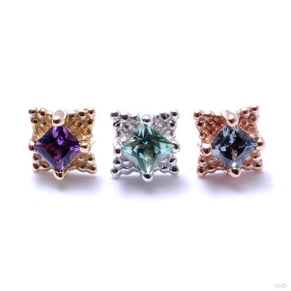 Princess Mini Kandy Press-fit End in Gold from BVLA in assorted stones