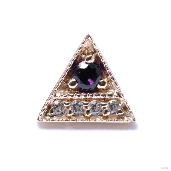 Endymion Triangle Press-fit End in Gold from BVLA with Midnight Topaz & Clear CZ