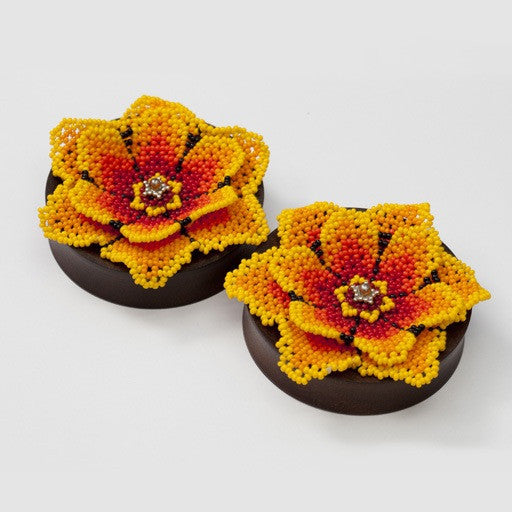 "Huichol Flower Plugs in 2 ½"" from Quetzalli"