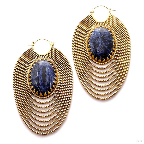 Epaulette Earrings with Stone from Tawapa in Brass with Sodalite
