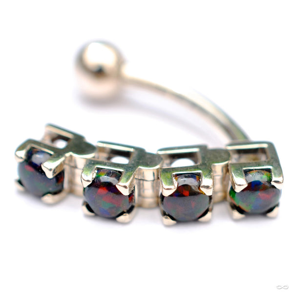 Classic 4 Dangle Navel Curve in White Gold with Black Opals from BVLA