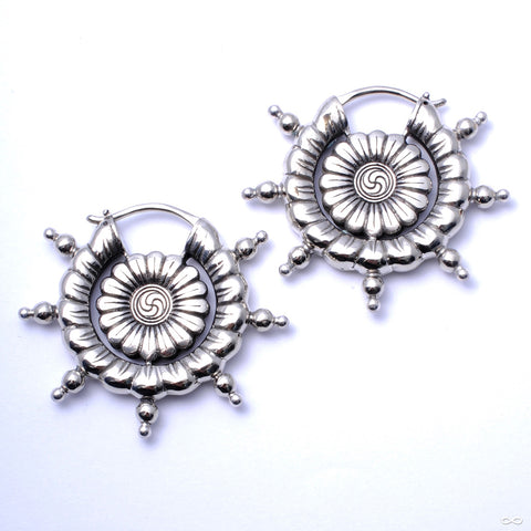 Dharma Wheel Earrings from Maya Jewelry in White Brass