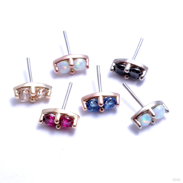 2 Stone Marquise Press-fit End in Gold from LeRoi in Assorted Colors