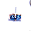 2 Stone Marquise Press-fit End in Gold from LeRoi with Medium Blue Stones