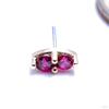 2 Stone Marquise Press-fit End in Gold from LeRoi with Dark Ruby Stones