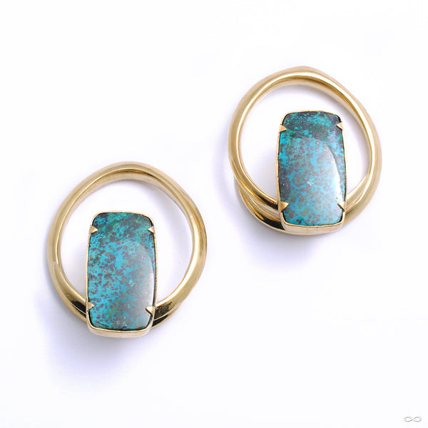 Mini Hoop Coils in Brass with Chrysocolla from Diablo Organics
