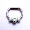 Hinged Ring with Three Prong-set Gemstones in Titanium from Intrinsic with White Opal