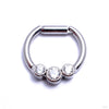 Hinged Ring with Three Bezel-set Gemstones in Titanium from Intrinsic with Clear CZ