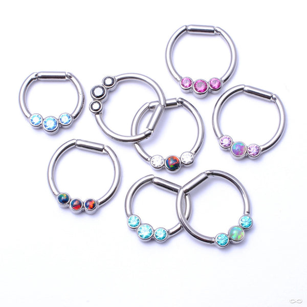 Hinged Ring with Three Bezel-set Gemstones in Titanium from Intrinsic with Assorted Stones