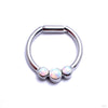 Hinged Ring with Three Bezel-set Gemstones in Titanium from Intrinsic with White Opal