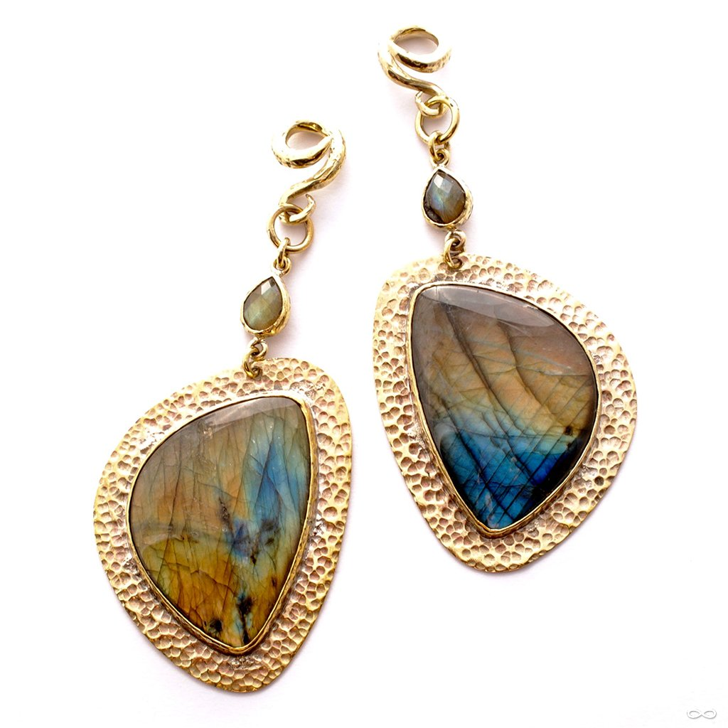 Hammered Brass Dangles with Labradorite from Diablo Organics
