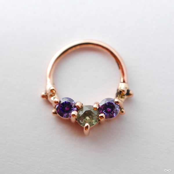 3 Stone Seam Ring in Gold from Sacred Symbols with Gray Tourmaline & Amethyst