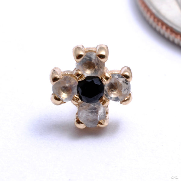 4 Diamond Soul Press-fit End in Gold from Quetzalli with black spinel center