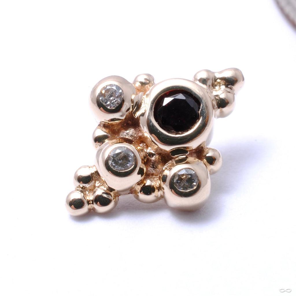 Round Sarai Threaded End in Gold from BVLA with garnet & Clear CZs