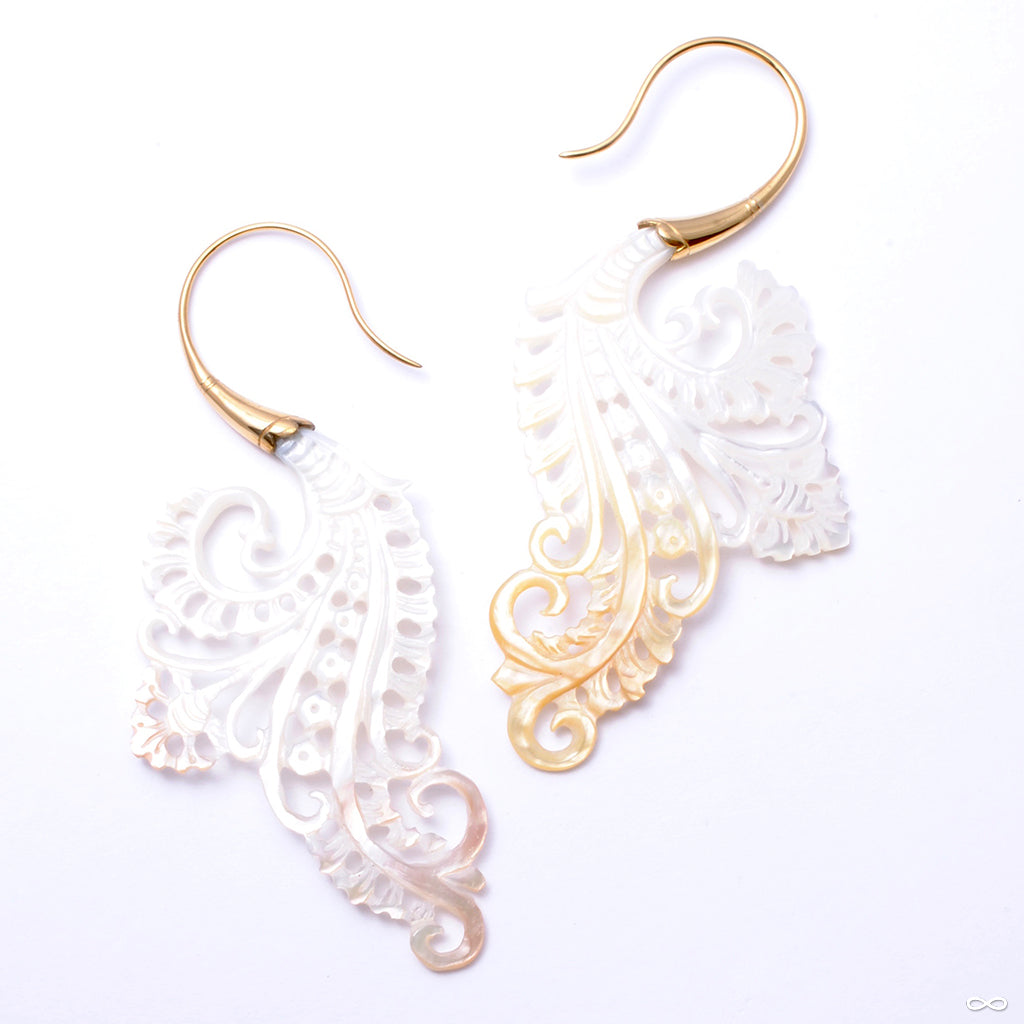 Bonita Earrings from Maya Jewelry in Yellow-gold-plated Brass with Bone