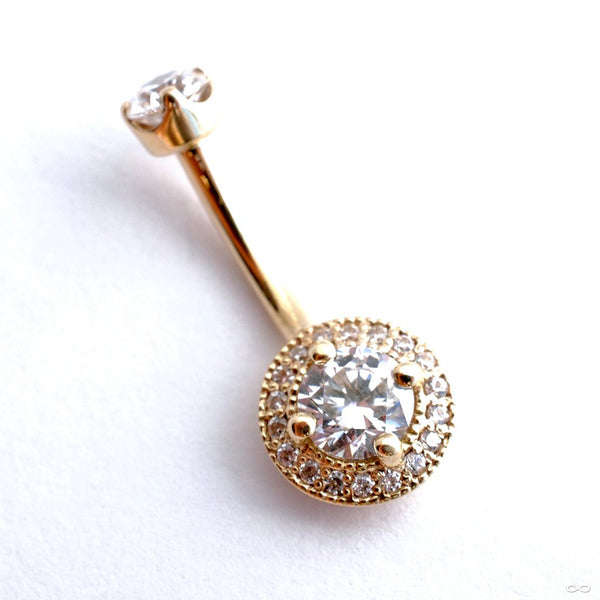 Round Halo Curved Barbell in Gold with Clear CZ from BVLA