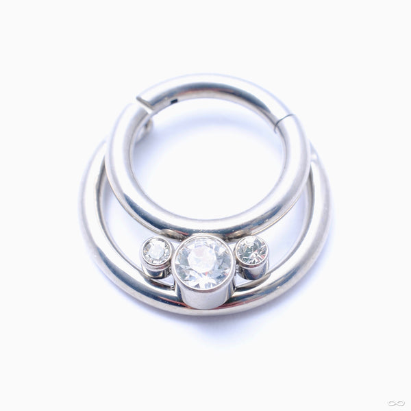 Gemmed Crescent Clicker in Titanium from Zadamer Jewelry with Clear CZs