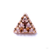 6 Stone Triangle Press-fit End in Gold from LeRoi with Pink