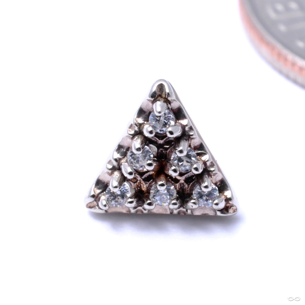 6 Stone Triangle Press-fit End in Gold from LeRoi with CZ