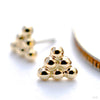 6 Bead Triangle Cluster Press-fit End in Gold from BVLA in Yellow Gold