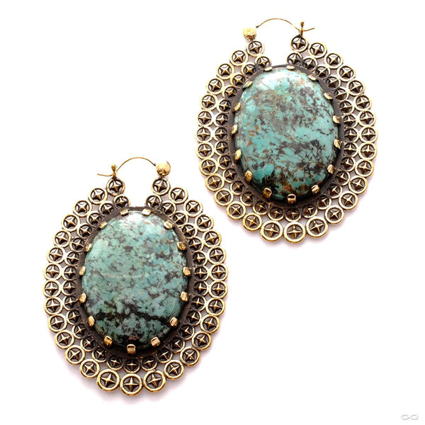 Heirloom Earrings with Stone from Tawapa in Brass with Turquoise