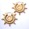 Dharma Wheel Earrings from Maya Jewelry in Yellow Gold