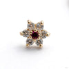 7 Stone Flower Press-fit End from LeRoi with Clear CZ & Dark Ruby Stones