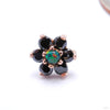 7 Stone Flower Press-fit End from LeRoi with Black CZ & Black Opals