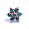 7 Stone Flower Press-fit End in Gold from LeRoi with Mint CZ & Clear CZ Center
