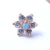 7 Stone Flower Press-fit End from LeRoi with Clear CZ & Lavender Opals