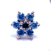 7 Stone Flower Press-fit End from LeRoi with Arctic Blue & Medium Blue Stones
