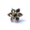 7 Stone Flower Press-fit End from LeRoi with Olive Stones