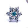 7 Stone Flower Press-fit End from LeRoi with Clear CZ & Mint Stones