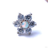 7 Stone Flower Press-fit End from LeRoi with Clear CZ & White Opals