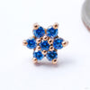 7 Stone Flower Press-fit End from LeRoi with Arctic Blue Stones
