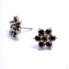 7 Stone Flower Press-fit End in Gold from LeRoi with Black CZ Petals & Center