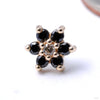 7 Stone Flower Press-fit End from LeRoi with Black & Champagne CZs